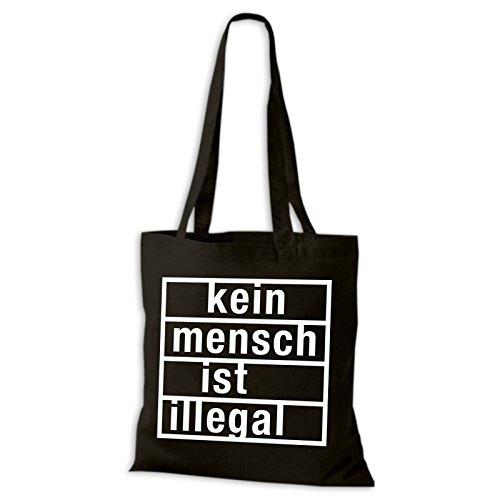 Shirtastic Baumwolltasche Jutebeutel Kein Mensch ist illegal Stoffbeutel NEU, Baumwolltasche:schwarz, Größe:38 x 42cm