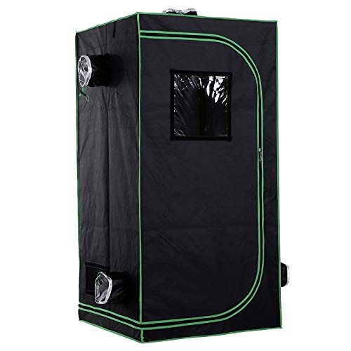 Outsunny Mylar Hydroponic Grow Tent with Adjustable Vents and Floor Tray...