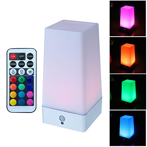 WRalwaysLX LED Square Night Light with Remote Control ,color changing Table Lamp Wireless PIR Motion