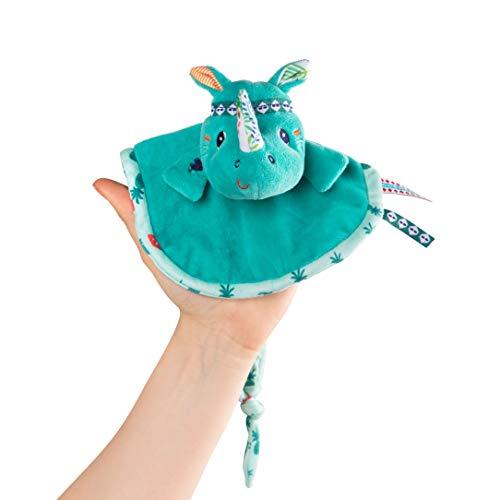 Lilliputiens 83120 Schnuffeltuch Kuscheltuch Fingerpuppe Schnullertuch Nashorn Marius blau 26x18 cm