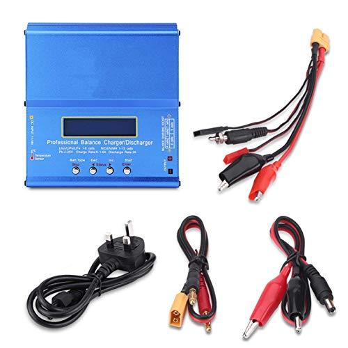 WANGYOUCAO 80W AC 100-240V Conveniente 3 Tipos de Cargador de batería RC Azul, para Nimh Nicd Lipo (Color : British Regulatory)