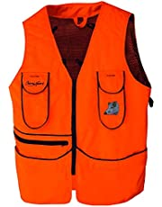 BENISPORT Chaleco Naranja fluorecente Short - Chaleco de Caza de Alta Visibilidad Color Naranja - Morral Trasero con Doble Cremallera - Bordado de Jabali
