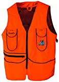 BENISPORT ( Talla 6XL Chaleco Naranja fluorecente Short - Chaleco de Caza de Alta Visibilidad Color Naranja - Morral Trasero con Doble Cremallera - Bordado de Jabali