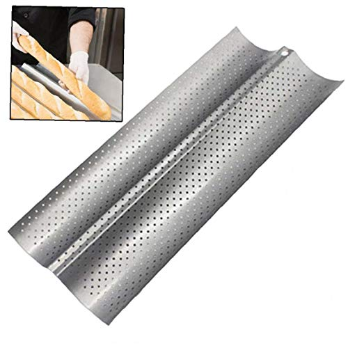 Bread Baking Tray Wave Shape Nonstick Perforated Baguette Pan for Sub Long Roll Baggettes