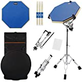Silent Drum Practice Pad, 12 Inch Double Sided Drum Pad with Adjustable Snare Drum Stand and 3 Pairs of Drum...