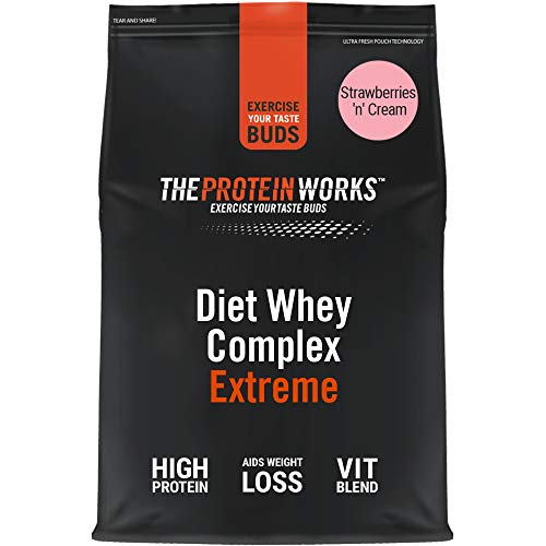 THE PROTEIN WORKS Diet Whey Complex Extreme Protein Powder| Low Fat & Low Calorie Diet Shake | Vitamin & Mineral Rich | No Added Sugar | Strawberries 'n' Cream | 500 g