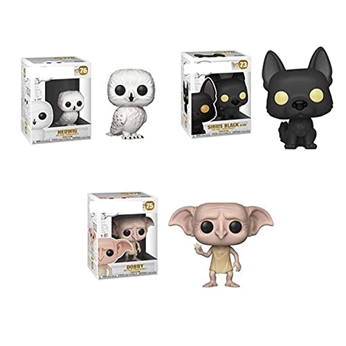 3Pcs / Set Anime Magic Academy Series Figuras Pop Harry Potter Birius Black # 73 Dobby # 75 Hedwig #...