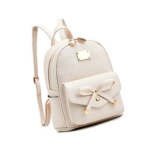 Mini Cute Pu Leather Backpack Casual Waterproof School Bag Travel White
