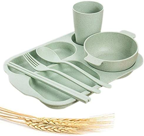 Many popular brands Greenandlife Unbreakable Divided Portion Plate Straw - Fib Luxury Wheat