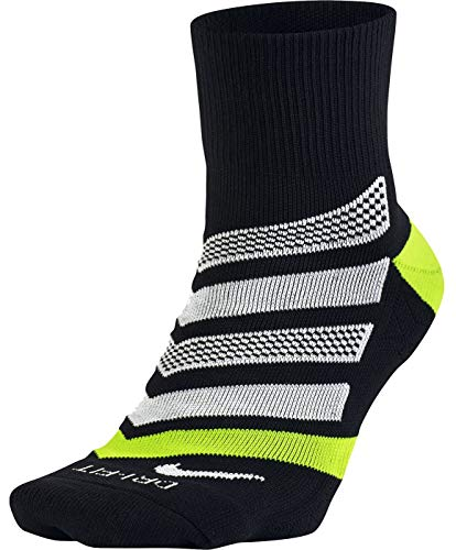 NIKE Running Dri Fit Cushion D Calcetines, Hombre, Negro (Black/Volt/White), S