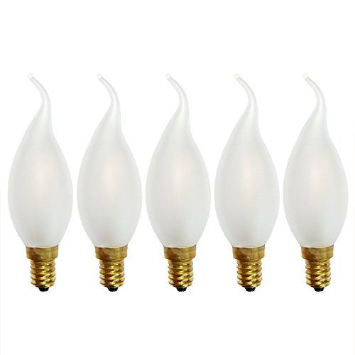 5 x LED Filament Windstoß Kerze 2W wie 25W MATT E14 200lm Glühlampe Glühbirne warmweiß 2700K LED Faden Glühbirnen