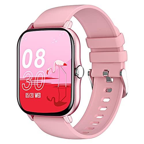 LEMFO Smartwatch Damen, 1.69 Zoll Touchscreen Smart Watch Fitness Tracker mit blutdruckmessung, Pulsmesser Schrittzähler, IP68 Wasserdicht Damen fitnessuhr Sportuhr für Ios Android