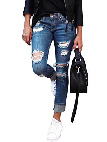 Onsoyours Jeans Damen Jeanshosen Röhrenjeans Skinny Slim Fit Stretch Stylische Boyfriend Jeans Zerrissene Destroyed Jeans Hose mit Löchern Lässig C Hellblau Large