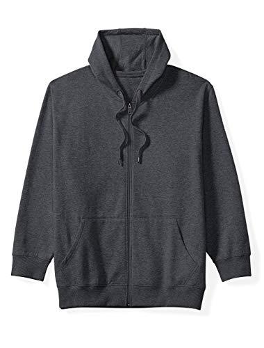 Amazon Essentials Men's Big and Tall Full-Zip Hooded Fleece Sweatshirt fit by DXL, Charcoal Heather, 2XLT
