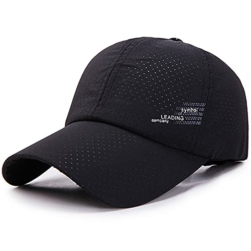 Hombres MujeresGorra de bisbol de VeranoSombreros deSecado rpidoUnisex Transpirable DeporteColor Puro Sombrero Snapback Sombrero de bisbol de Hueso-Black