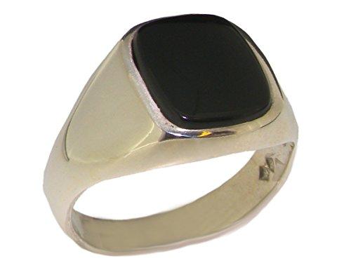 Herren Siegel Ring Solide 9 Karat (375) Weißgold mit Onyx - Verfügbare Größen : 55 bis 70