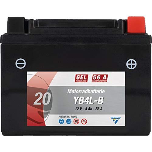 CARTEC Motorradbatterie YB4L-B 4Ah 56A Gel Technologie Batterie Erstausrüsterqualität zyklenfest lagerfähig wartungsfrei