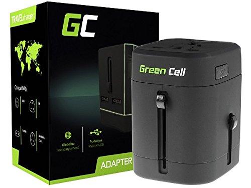 Original Green Cell® internationaler Reiseadapter Reisenetzteil US UK EU AU Stecker mit 2 USB-Anschlüssen & Universal-Steckdose, Schutz Dank elegantem Transportetui für über 150 Länder