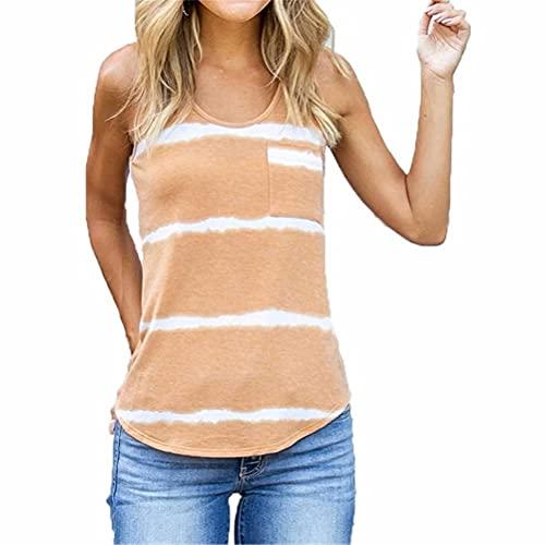 ZFQQ Camiseta sin Mangas con Cuello en u sin Mangas con Estampado de teñido Anudado Multicolor para Mujer de Verano
