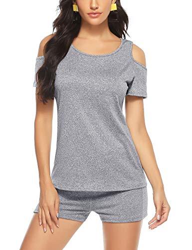 Aibrou Mujer Conjunto de ropa deportiva Secado rápido Top y pantalones cortos Chandal 2 piezas ropa de fitness para Gimnasio Yoga de entrenamiento (Gris claro S)