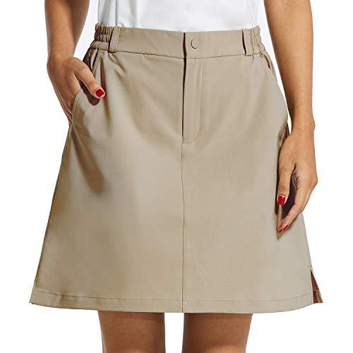 "BALEAF Women's Golf Skorts 5 Pockets with Zip 18"" UPF 50+ Hiking Skirt Quick Dry Lightweight Skirts Outdoor Tennis Khaki L"