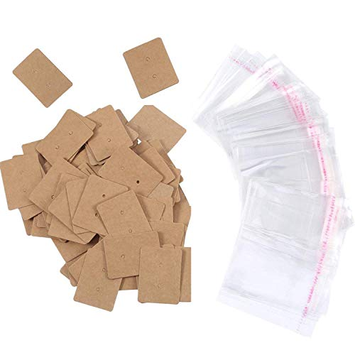 SATINIOR 200 Pack Kraft Paper Earring Display Card Earring Stud Cards Tags with 200 Pack Self-Adhesive Bag