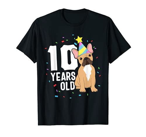 10 Years Old Birthday Outfit French Bulldog Dog Party 10th T-Shirt