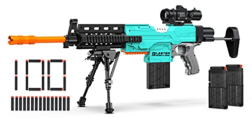Automatic Toy Gun for Nerf Guns Sniper with Scope, 3 Modes Toy Foam Blasters & Guns with Bipod, 2 Clips, 100 Bullets, DIY Toy Guns for Boys Age 8-12, Kids Toy Gifts for Birthday Halloween Christmas