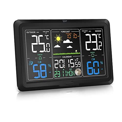 ZNBJJWCP Estación Meteorológica Inalámbrica Interior Al Aire Libre Colorido Termómetro Digital 328ft / 100m con Calendario