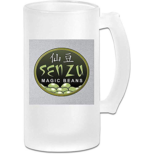 Taza de jarra de cerveza de vidrio esmerilado impresa de 16 oz - Judías mágicas Senzu Dragon Ball Z - Taza gráfica