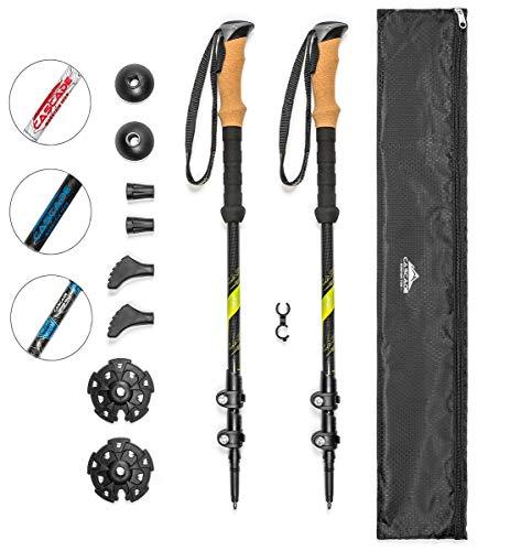 Cascade Mountain Tech 100% Carbon Fiber Trekking Poles Quick Lock