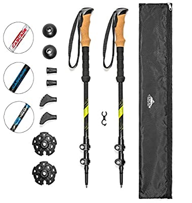 Cascade Mountain Tech Carbon Fiber Adjustable Trekking Poles 2 Pack - Lightweight Quick Lock Walking or Hiking Stick