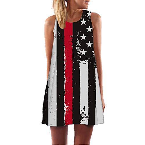 KYLEON Damen Kleid Sleveless Vintage Boho 3D Bedruckt Damen Sommer Casual Party Strand Swing Mini Tank Kleider Sundress - - Mittel