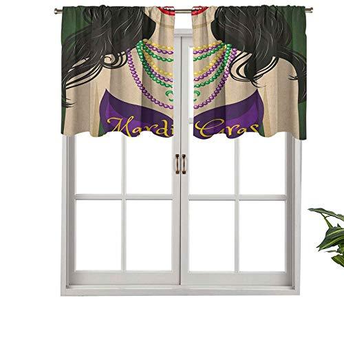 Hiiiman Cortinas pequeñas para ventana de cocina, cenefas de mujer joven con collar de vestido de fiesta con flor De, juego de 2, 42 x 24 pulgadas para cocina, baño y café