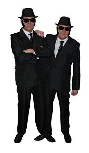 I LOVE FANCY DRESS LTD Brothers of Blues=Alien JÄGER =2 KOSTÜME =Fasching+Karneval=MÄNNER IN SCHWARZ VERKLEIDUNG =HUT-58cm=XLarge+XLarge