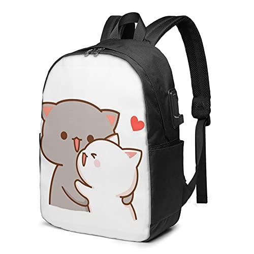 Carino coppia gatto zaino, viaggio portatile zaino con porta di ricarica USB per uomini e donne 17 pollici, Come mostrato, Taglia unica,