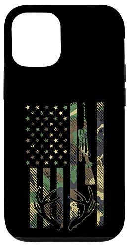 iPhone 12/12 Pro Camo American Flag Rifle Antler Deer Hunting Gun Hunter Gift Case