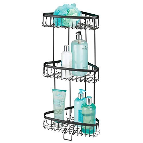 mDesign Metal 3-Tier Bathroom Corner Shower Shelf - Free Standing Vertical Unit Storage Shelves - for Organizing Soaps, Shampoos, Conditioner, Fash Face, Body Scrubs, Body Washes - Matte Black