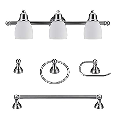 Globe Electric 51229 Jayden 5-Piece All-In-One Bathroom Set, Satin Nickel, 3-Light Vanity Light with White Opal Glass Shades, Towel Bar, Toilet Paper Holder, Towel Ring, Robe Hook