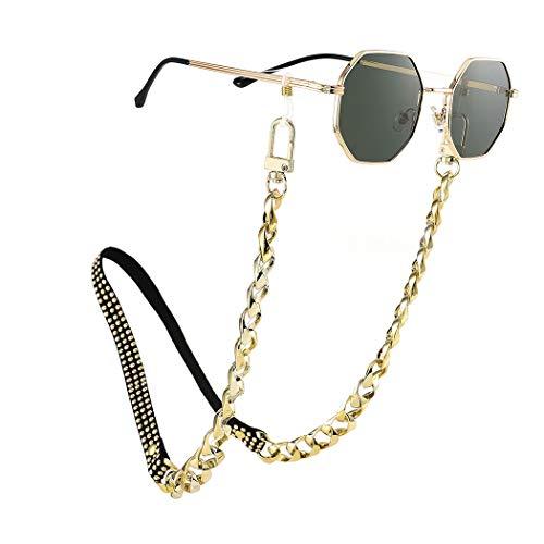 Bohend Punk Cadena de gafas de sol Oro Remache Cadena de mascarilla Cuero PU Cadena de anteojos Accesorios para gafas por Anteojos y mascarillas