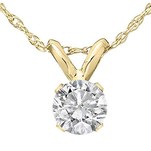 """1/3 Ct Solitaire Round Diamond Pendant Necklace 18"""" 14K Yellow Gold"""