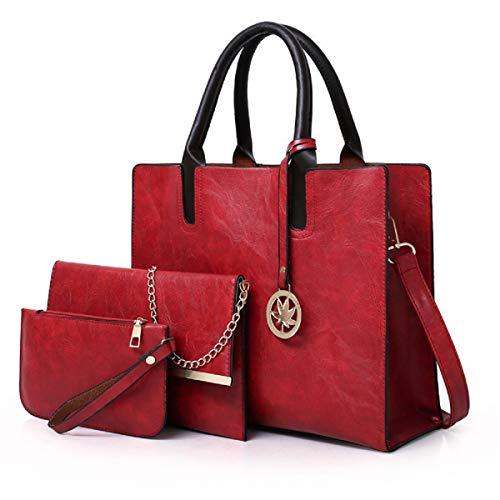 YOUNXSL Carteras y Bolsos Para Mujer Bolsos De Hombro Bolso De Mano Con Asa Superior De Diseñador Bolsos Totes Hobo(Rojo)