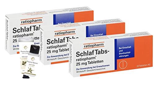 Schlaftabs ratiopharm Sparset - 3 x 20 Tabletten - inkl. einer pflegenden Handcreme ODER Duschbad von Pharma Nature (Apotheken-Express)