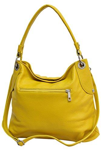 Ambra Moda GL012 - Borsa a tracolla da donna in vera pelle, Giallo (giallo.), Large