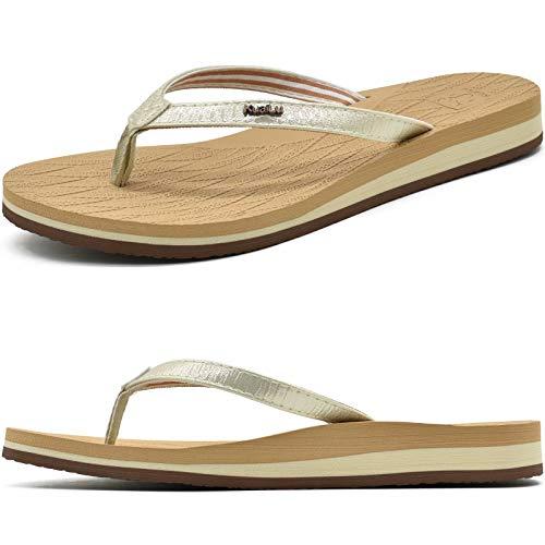 KuaiLu Chanclas Mujer Comodas Piel Tela Flip Flop Verano Cool Playa Piscina Planas Chancles ligera Sandalias de Dedo Antideslizante Goma Suela Zapatillas
