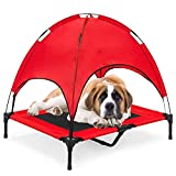 RELIANCER Large 36' Elevated Dog Cot with Canopy Shade 1680D Oxford Fabric Outdoor Pet Cat Cooling Bed Tent w/Convenient Carrying Bag Indoor Sturdy Steel Frame Portable for Camping Beach (36, Red)