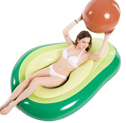 Jasonwell Inflatable Avocado Pool Float Floatie with Ball Water Fun Large Blow Up Summer Beach...