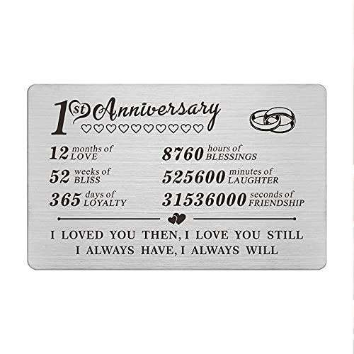 1 Year Anniversary Wallet Card Gifts for Boyfriend Girlfriend Husband Wife, First 1st Wedding Anniversary Card Gift for Him Men Her Women