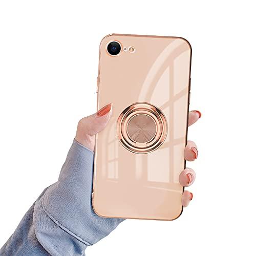 Newseego Funda Silicone Case para iPhone 7/8/Se, Carcasa de Silicona Suave Antichoque Bumper, Soporte para Coche con Imán con Anillo de 360 Grados para iPhone 7/8/Se (4.7 Pulgadas)-Leche