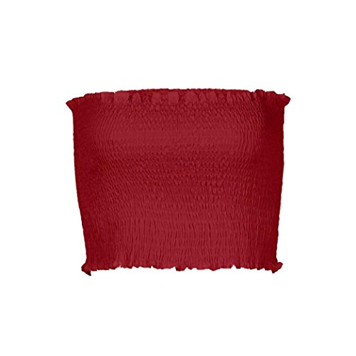 OVERDOSE Frauen trägerlosen elastischen Boob Bandeau Tube Tops BH Dessous Brust Wrap Bluse Sommer Basic Tops (A-Red,36 DE/S CN)